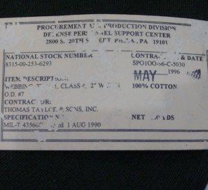画像2: コットンテープ 幅50ミリ コットン 90年代 OD